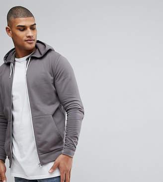 Asos DESIGN TALL Zip Up Hoodie In Gray