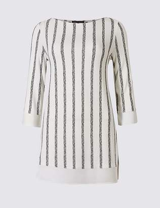Marks and Spencer Striped Round Neck 3/4 Sleeve Tunic