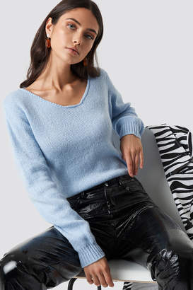Glamorous Off Shoulder Jumper Light Blue