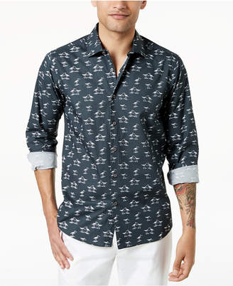 Tallia Men's Slim-Fit Black Grayscale Bird-Print Dress Shirt