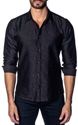 Jared Lang Men's Modern-Fit Woven Long-Sleeve Shirt