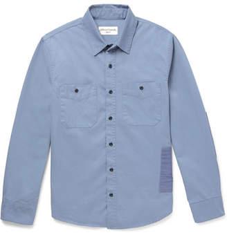 Officine Generale Slim-Fit Patchwork Cotton-Twill Shirt - Men - Blue