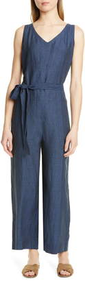 Eileen Fisher Belted Organic Linen Jumpsuit