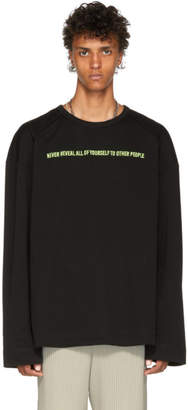 Juun.J Black Embroidered Long Sleeve T-Shirt