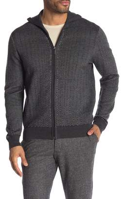 Perry Ellis Tri Color Textured Knit Full Zip Cardigan