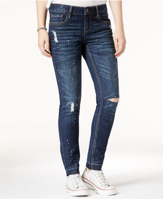 Dollhouse Juniors' Paint Splatter Ripped Skinny Jeans $49 thestylecure.com