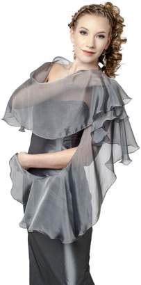 FLUTTERING SCARF for Evening Dress. Silver Grey 100% Silk Chiffon Wrap Shawl by Lena Moro