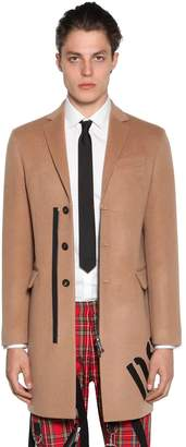 DSQUARED2 Printed Camel & Wool Coat