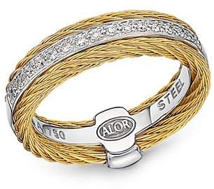 Alor Diamond Two-Tone Cable Ring