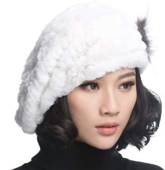 9aad20fab5a3a URSFUR Winter Women s Rex Rabbit Fur Beret Hats with Fur Flower