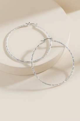francesca's Delicia Diamond Cut Hoop Earrings - Silver