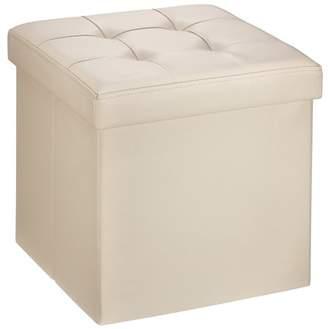 "Mllieroo 15"" Folding Faux Leather Storage Ottoman/Footstool/Bench,Beige"