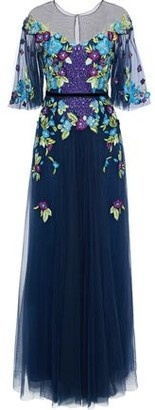 Marchesa Grosgrain-Trimmed Embellished Tulle Gown