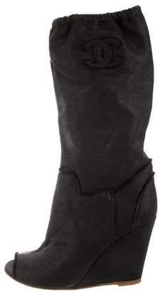 Chanel Knit Peep-Toe Wedge Boots