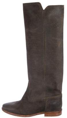 Isabel Marant Leather Knee-High Boots Grey Leather Knee-High Boots