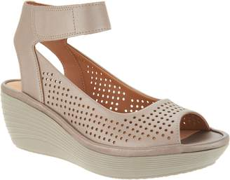 Clarks Nubuck Leather Perforated Wedges - Reedly Salene