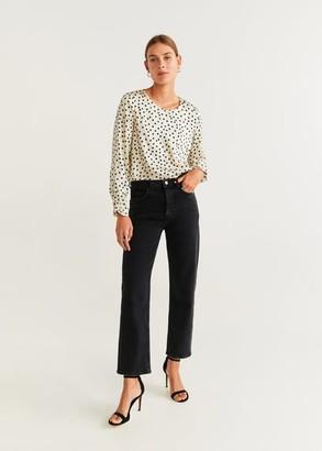 MANGO Polka-dot flowy blouse off white - 2 - Women