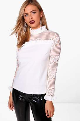 boohoo Lace Ruffle High Neck Blouse