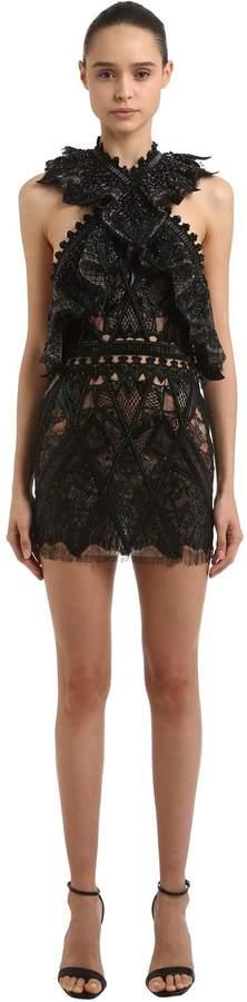 Embroidered & Ruffled Cutout Dress