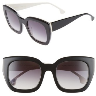 Women's Alice + Olivia Aberdeen 50Mm Square Sunglasses - Black/ White $225 thestylecure.com