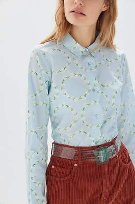 Urban Outfitters Floral Scallop Button-Down Shirt
