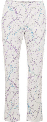 Max Mara Floral-print Cotton-blend Twill Straight-leg Pants - White