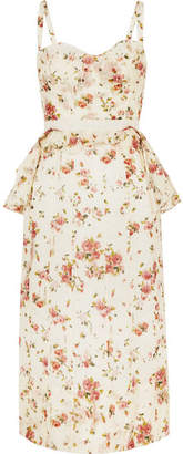 Brock Collection Dailey Floral-print Cotton-voile Peplum Dress - Cream