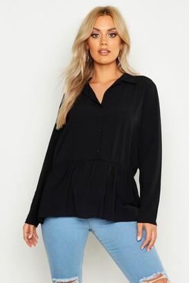 boohoo Plus Peplum Hem Shirt