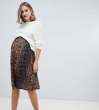 cc9bc46f470 Asos DESIGN Maternity midi skater skirt in leopard print