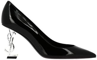 Saint Laurent Pumps Opyum Shoes Pumps In Patent Leather With Textured Metallic Heel