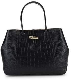 Longchamp Roseau Croc-Embossed Leather Tote