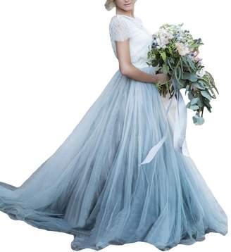 D.W.U Short Sleeve Tulle Vintage Country Wedding Dresses US