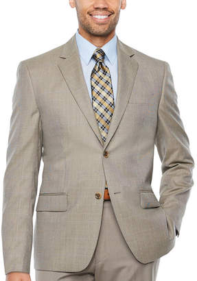 Izod Tan Check Suit Jacket - Classic Fit