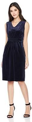 Savoir Faire Dresses Women's Velvet Sleeveless V Neck Elastic Front Dress