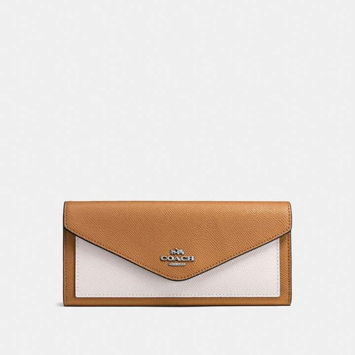 Coach New YorkCoach Soft Wallet In Colorblock - LIGHT SADDLE CHALK/SILVER - STYLE