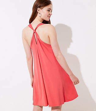 LOFT Petite Knot Back Sleeveless Swing Dress