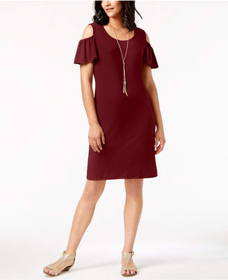 JM Collection Petite Cold-Shoulder Dress