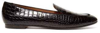 Aquazzura Purist Crocodile Effect Leather Loafers - Womens - Black