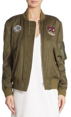 Polo Ralph Lauren Embroidered Satin Bomber Jacket $398 thestylecure.com