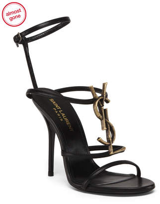 Made In Italy Logo Leather Heeled Sandals