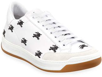 Burberry Men's Equestrian Knight Logo Leather Low-Top Sneakers