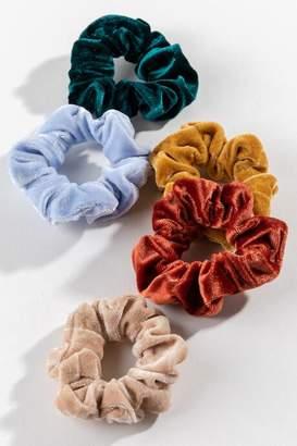 francesca's Katya 5 Pack Velvet Scrunchie Set - Multi
