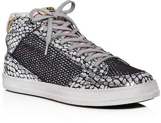 Golden Goose P448 Women's Queens Glitter Mixed Media Mid Top Sneakers