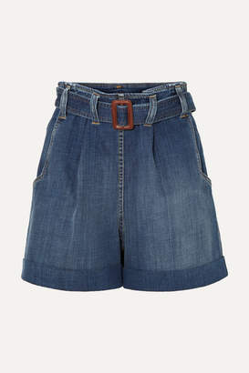 Brunello Cucinelli Belted Denim Shorts - Blue