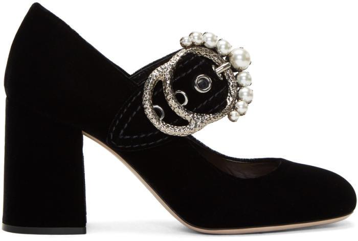 Miu Miu Black Velvet Mary Jane Heels