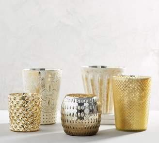 Pottery Barn Eclectic Mercury Hurricanes, Matte Gold - Large (Diamond)