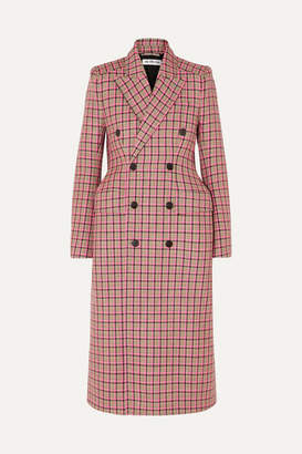 Balenciaga Hourglass Double-breasted Checked Wool Coat - Pink