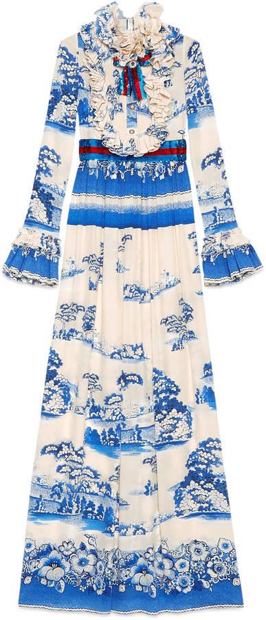 GucciPorcelain garden print silk gown