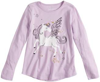 Girls 4-10 Jumping Beans Long-sleeve Glittery Unicorn Graphic Tee