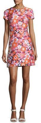 Michael Kors Medium Spring Floral Jacquard Short-Sleeve Dress, Pink/Multi $1,950 thestylecure.com